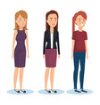 group of young women poses and styles vector image vector image