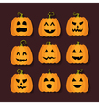 Halloween pumpkins flat icons set vector image