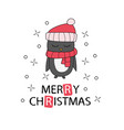 hand drawn christmas greeting card with pinguin vector image vector image