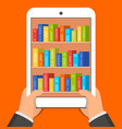 hands holding tablet pc with books on screen vector image