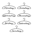 hangers with days week vector image
