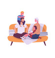 happy homosexual family with children sitting vector image vector image
