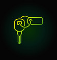 key with tag green icon vector image vector image
