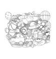line art hand drawn doodle cartoon group vector image vector image