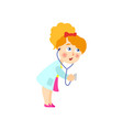 little girl in white medical gown playing doctor vector image