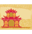 old paper with Chinese temple vector image vector image