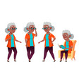 old woman poses set black afro american vector image