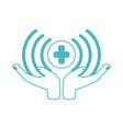 online doctor hands medical digital protection vector image vector image