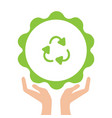 open arms with recycling sign glyph color icon vector image