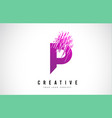 p letter logo design with purple colors vector image