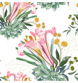 pattern with summer herbs and pink royal lilies vector image vector image