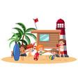 people having fun on beach vector image vector image