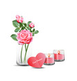 pink roses in clear glass with card and candles vector image vector image