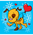 puppy running with balloon vector image vector image