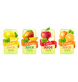 realistic fruit labels packaging stickers with vector image