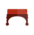 red vintage ottoman with wooden curved legs vector image vector image