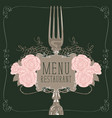 restaurant menu with fork and pink roses vector image vector image