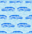 seamless pattern with blue cars vector image vector image