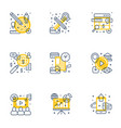 set 9 flat line business icons flat line vector image vector image
