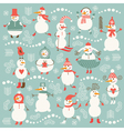 set cute snowmans vector image vector image