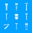 shaver blade razor personal icons set simple vector image