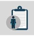 silhouette sitting business clipboard icon vector image