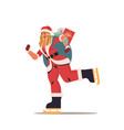 skating woman in santa claus costume with sack vector image vector image