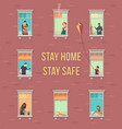 stay home concept house facade with windows vector image vector image