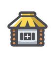 straw hut home icon cartoon vector image