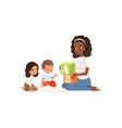 teacher holding colored abc cubes little boy vector image vector image