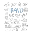 Travel camping icons in Doodle style great set vector image vector image