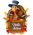 turkey on autumn sign vector image