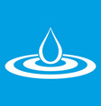water drop and spill icon white vector image vector image