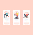 workout time mobile app page onboard screen vector image