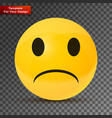 yellow sad face on transparent background vector image