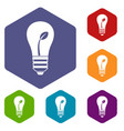 ecology idea bulb with plant icons set vector image