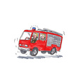 Red Fire Truck Fireman Caricature vector image
