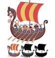 Viking Ship on White vector image