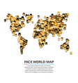 a set of smiling faces shaped as a map vector image vector image