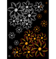 Abstract flowers on black background vector image