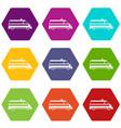 ambulance car icon set color hexahedron vector image vector image
