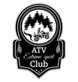 atv quad bike extreme sport club emblem vector image