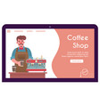 banner barista making coffee in paper vector image vector image