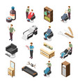 barbershop isometric icons vector image vector image
