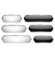 black and white glass 3d buttons oval icons set vector image vector image