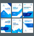 blue brochures annual reports flyers design vector image