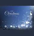 blue christmas banner with light bokeh vector image