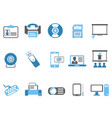 blue office technology icons set vector image