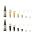 Bottles of dark and light beer with glasses icons vector image vector image