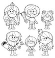 cavemen people coloring page vector image